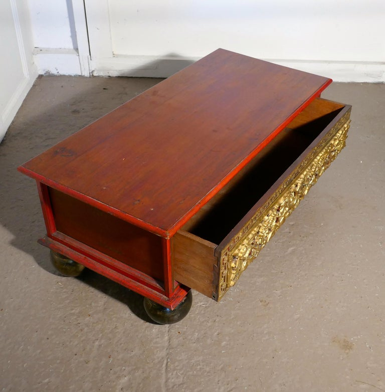 Low Coffee Table With Storage: Oriental Look Low Coffee Table With Drawer Storage For