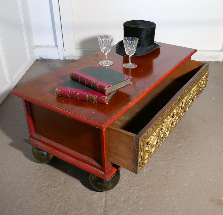 Oriental Look Low Coffee Table With Drawer Storage For