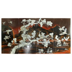 Oriental Midcentury Wall Art Panels Made of Mother of Pearl