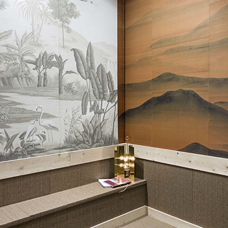 This stunning wall paper will be a superb addition to a modern interior, thanks to its striking combination of vivid colors and delicate design. Part of the Asia collection, this landscape evokes exotic mountains and tropical forests. It was