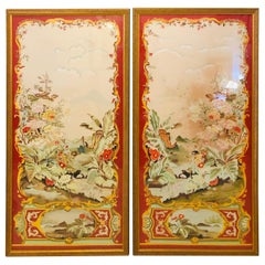 Oriental Painted Silk Panels on Fine Gilt Frames under Plexiglass, a Pair