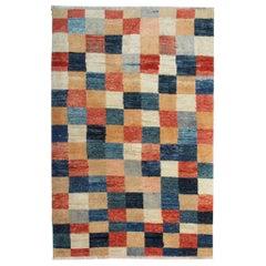 Oriental Rug Fine Contemporary Rug, Handmade Carpet for Sale, Chess Plaid Design
