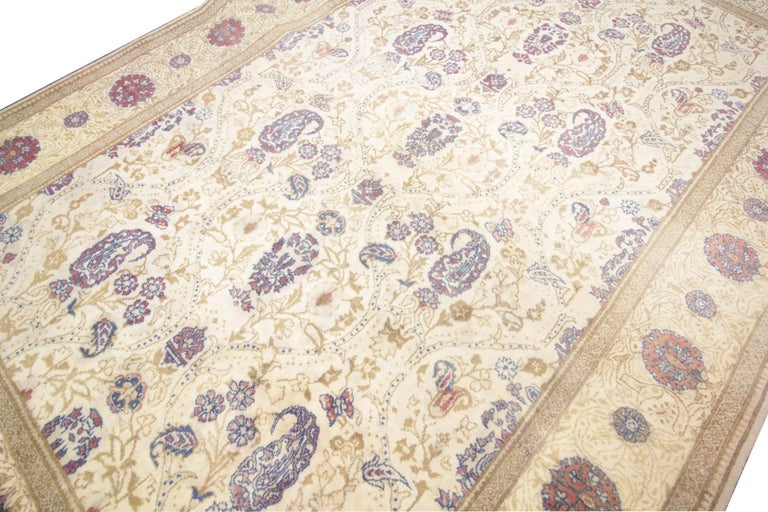 Rococo Oriental Rug Handmade Carpet Vintage Turkish Rug, Cream Wool Living Room Rug For Sale