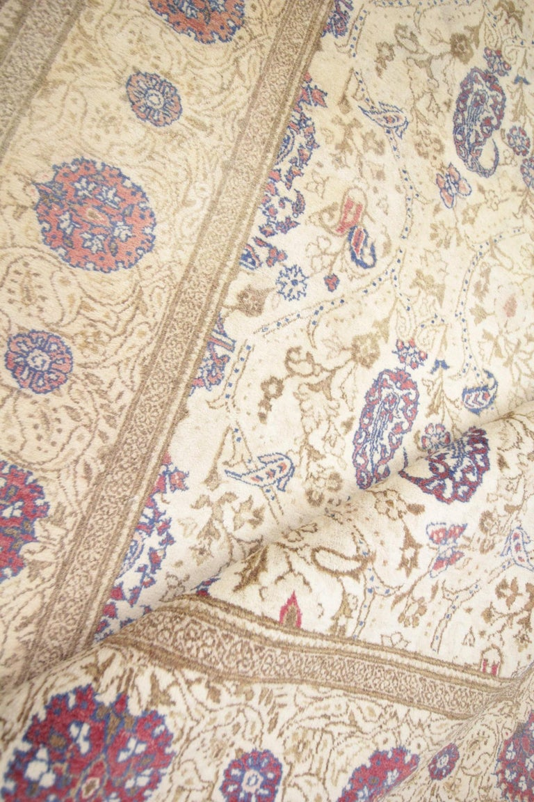 Hand-Crafted Oriental Rug Handmade Carpet Vintage Turkish Rug, Cream Wool Living Room Rug For Sale