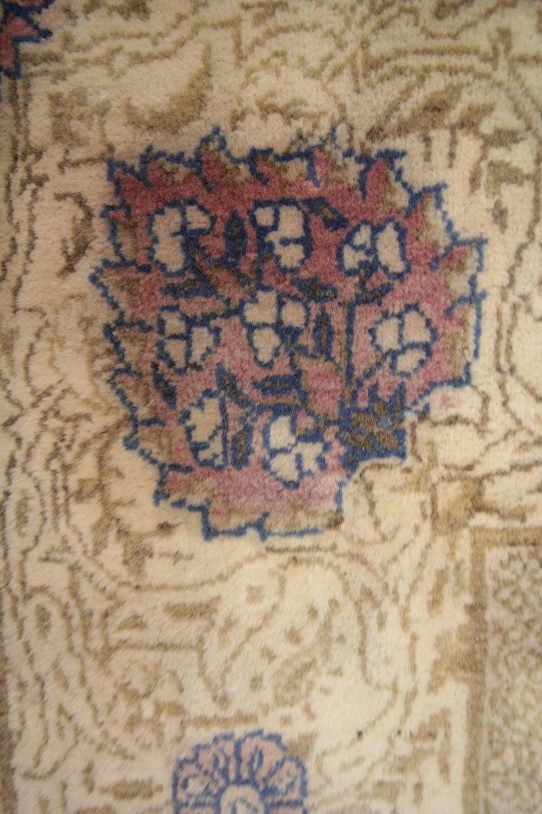 Mid-20th Century Oriental Rug Handmade Carpet Vintage Turkish Rug, Cream Wool Living Room Rug For Sale