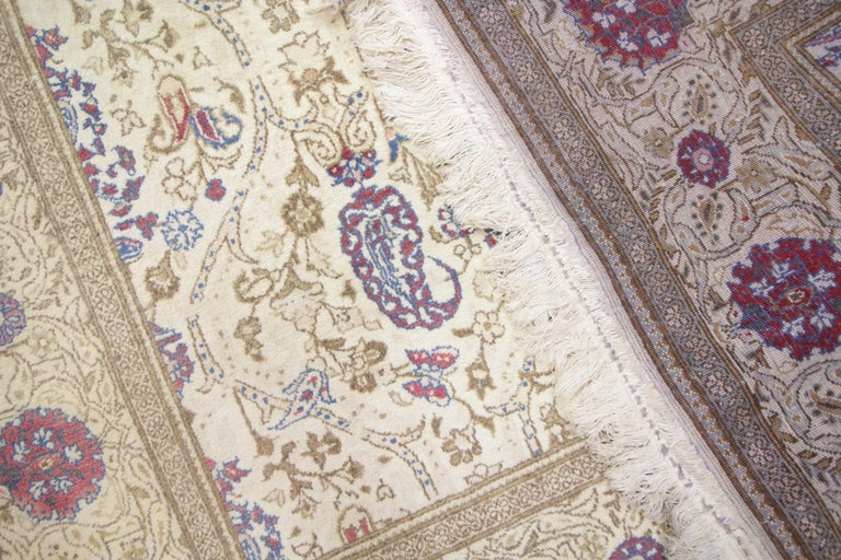 Oriental Rug Handmade Carpet Vintage Turkish Rug, Cream Wool Living Room Rug For Sale 1