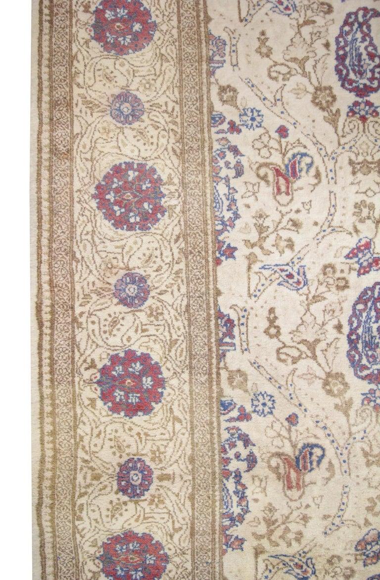 Oriental Rug Handmade Carpet Vintage Turkish Rug, Cream Wool Living Room Rug For Sale 2