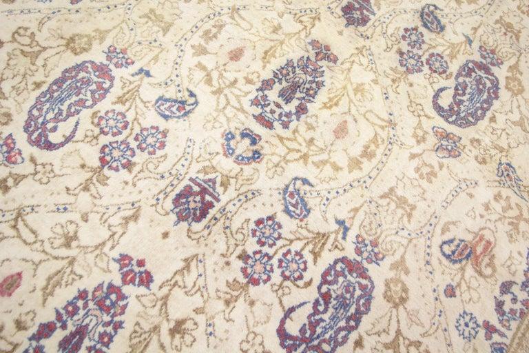Oriental Rug Handmade Carpet Vintage Turkish Rug, Cream Wool Living Room Rug For Sale 3