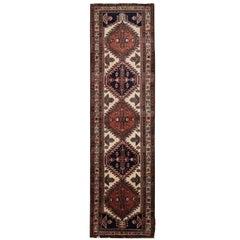 Oriental Rug, Handmade Carpet Vintage Runner, Brown Wool Hallway Rug
