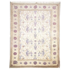 Oriental Rug Handmade Carpet Vintage Turkish Rug, Cream Wool Living Room Rug