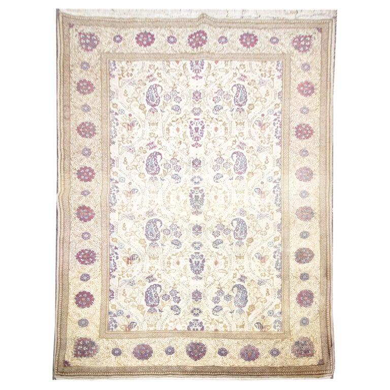 Oriental Rug Handmade Carpet Vintage Turkish Rug, Cream Wool Living Room Rug For Sale