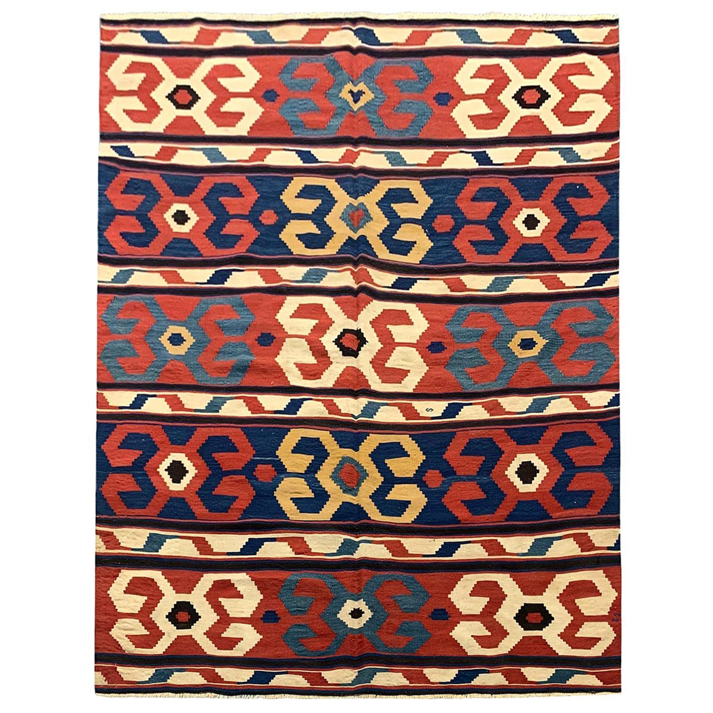 Oriental Rug Kilim Traditional Carpet Antique Rugs, Caucasian Kilim Rug