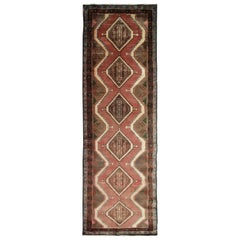 Oriental Rug Vintage Handmade Carpet Runner, Handwoven Brown Wool Runner