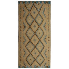 Oriental Rug Yellow Geometric Kilim Rug Traditional Antique Runner Rug