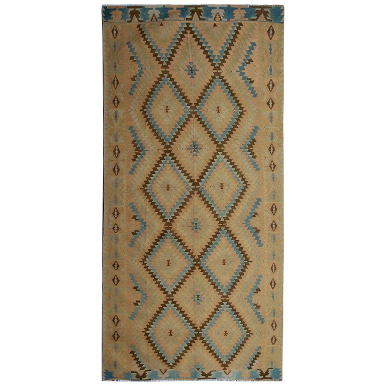 Oriental Rug Yellow Geometric Kilim Rug Traditional Antique Runner Rug For Sale
