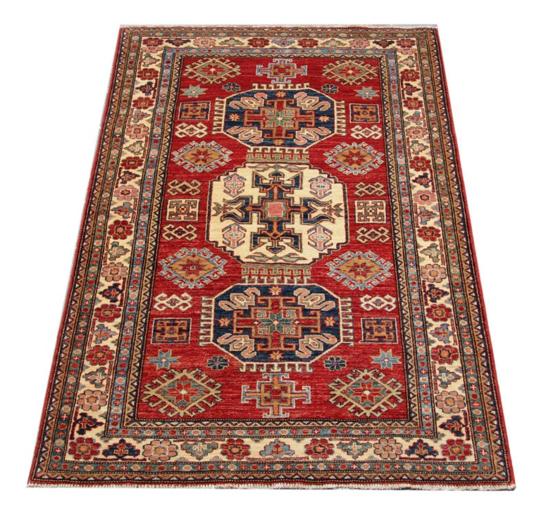 Oriental Rugs, Handmade Carpet Red Kazak Rugs for Sale In Excellent Condition For Sale In Hampshire, SO51 8BY