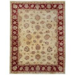 Beige Floral Oriental Rugs, Handmade Carpet Living Room Rugs