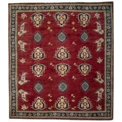Oriental Rugs, Red Square Rugs, Geometric Wool Handmade Carpet for Sale