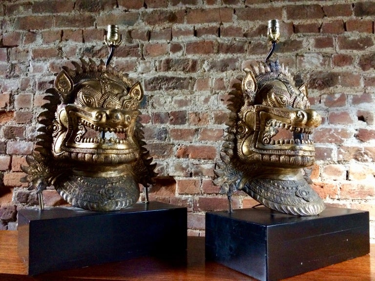 Chinese Oriental Side Lights Lamps Dragon Mask Asian Pair Gilt Metal Large For Sale