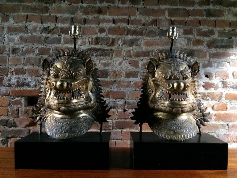 Oriental Side Lights Lamps Dragon Mask Asian Pair Gilt Metal Large In Good Condition For Sale In Longdon, Tewkesbury