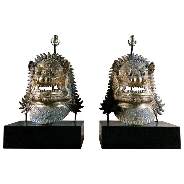 Oriental Side Lights Lamps Dragon Mask Asian Pair Gilt Metal Large For Sale