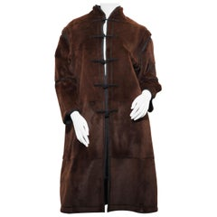 Armani Oriental Style Brown Rabbit Leather Coat with blac silk trimmings