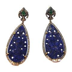 Oriental Style Carved Lapislazuli, Diamond and Emerald 18kt Gold Silver Earrings