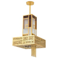 Oriental Style Chandelier Colored Glass and Gilt Metal, 1960s