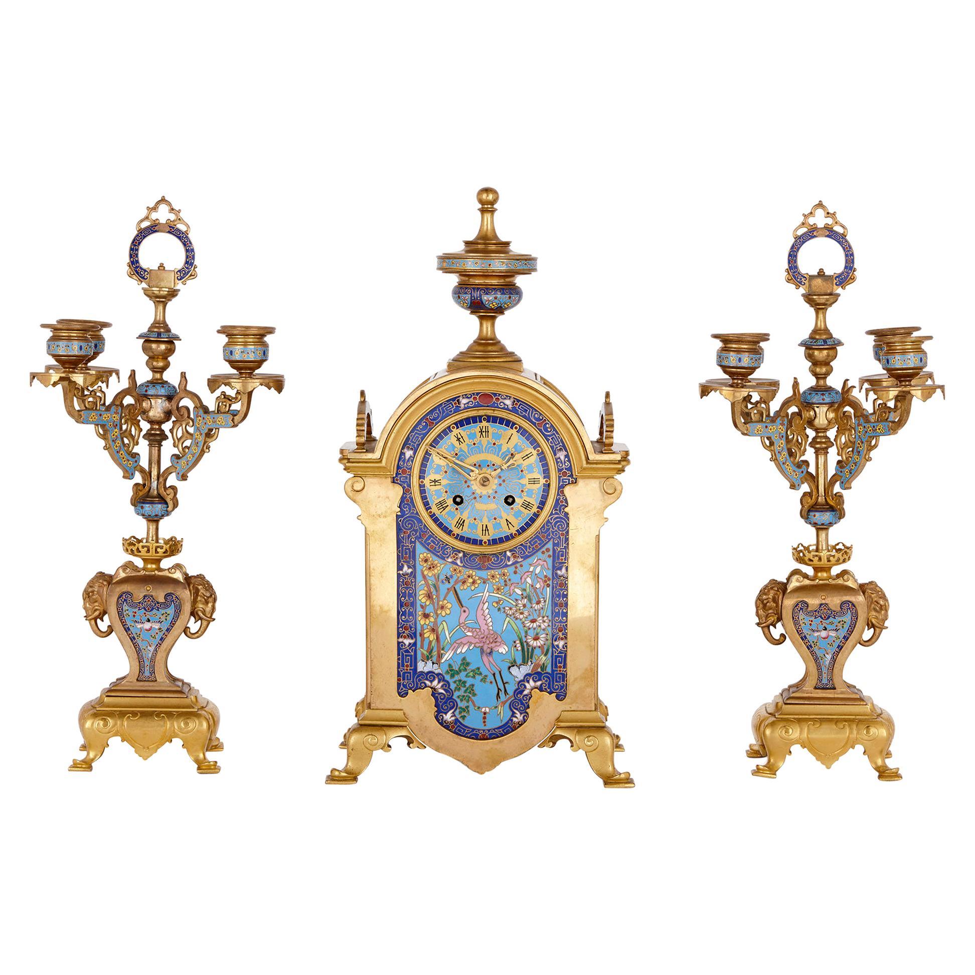 Oriental Style Gilt Bronze and Champlevé Enamel Clock Set