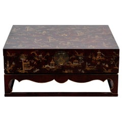 Oriental Style Red and Gold Painted Coffee Table on Base