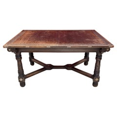 Oriental-Style Table in Carved Wood, with Mother-of-Pearl Inlay, 1880