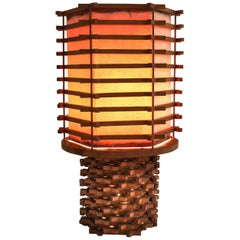 Oriental Table Lamp in Wood and Linen, Asia, 1950s