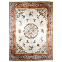 Oriental Vintage Rug Art Deco Style Chinese Rugs, Cream Handmade Carpet Rugs