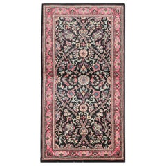Oriental Wool Small Rugs, Handmade Floral Indian Rugs with Pink Border
