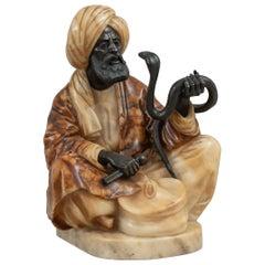 Orientalist Bronze & Carved Alabaster Seated Snake Charmer, ca. 1900, German