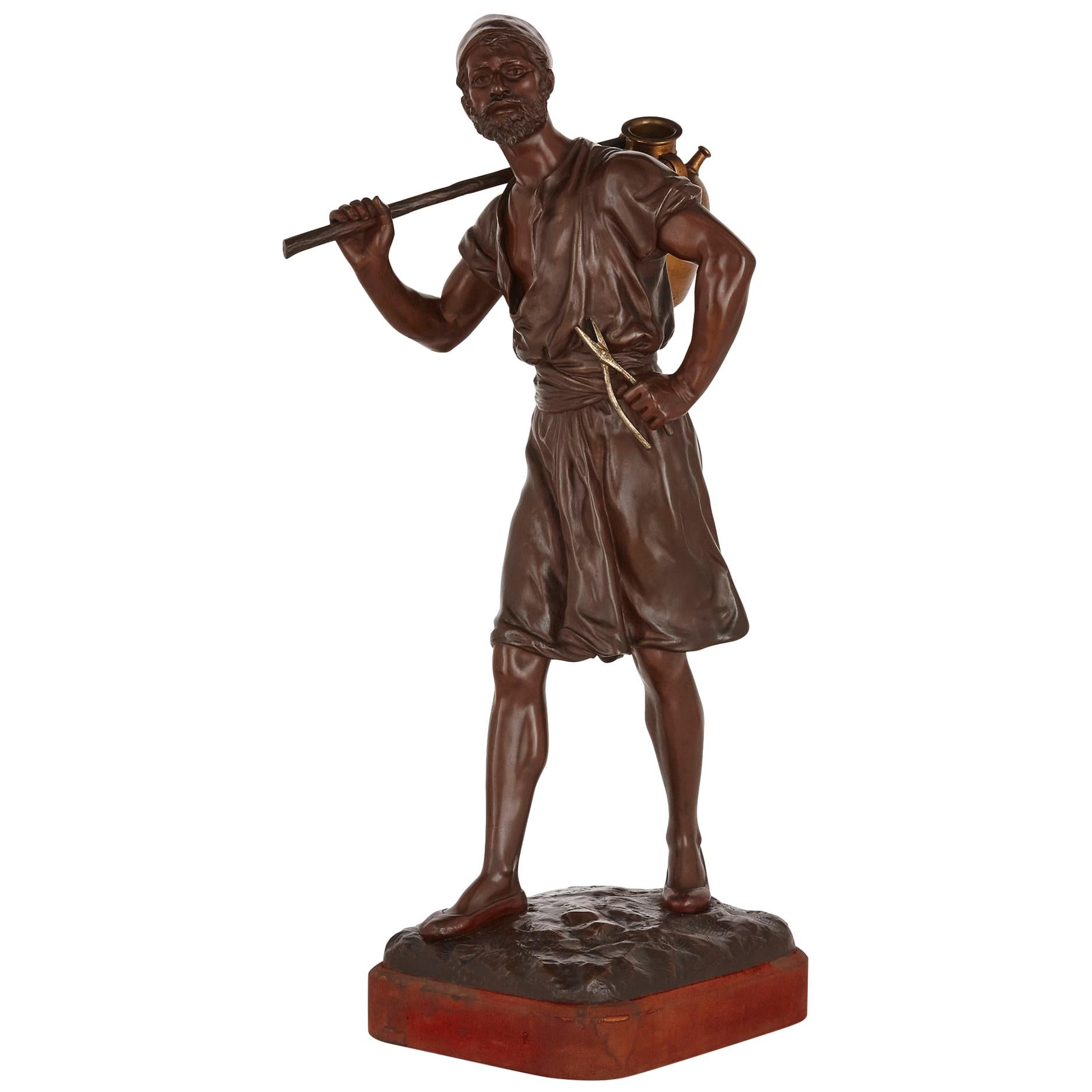 Orientalist Bronze Figure of a Water Carrier by Marcel Debut