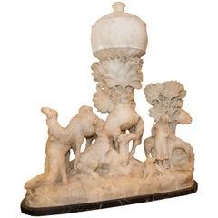 Orientalist Carved Alabaster Figure Statue Depicting Camels in Desert