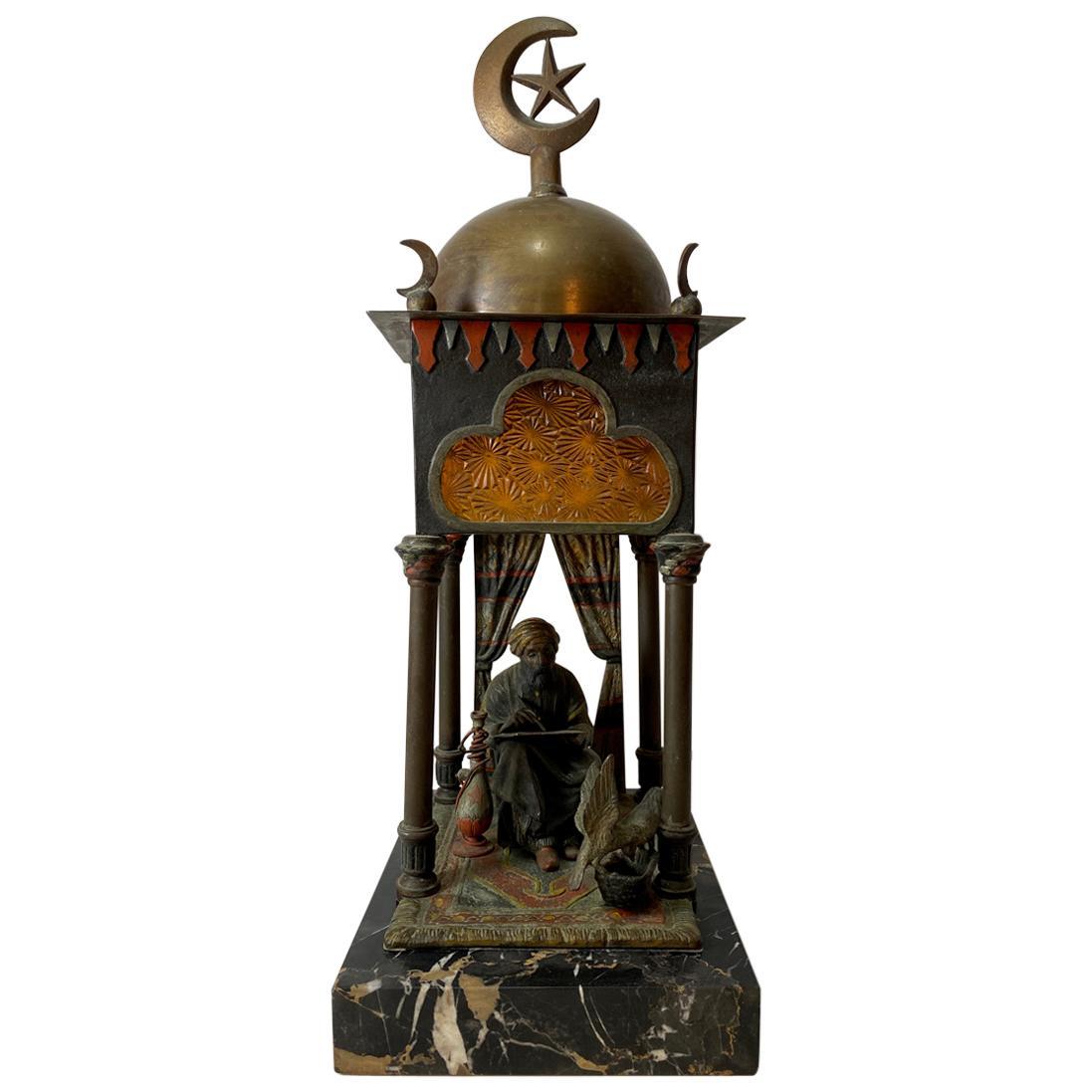 Orientalist Cold Painted Austrian Bronze Lamp Manner of Franz Bergman