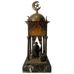 Orientalist Cold Painted Austrian Bronze Lamp Manner of Franz Bergman