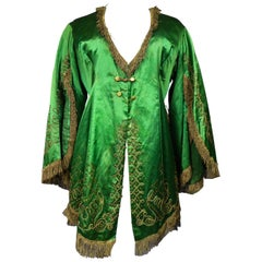 Orientalist Evening Fancy Jacket in Embroidered Sequin and Silk Satin Circa 1940