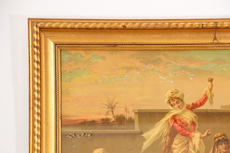 Orientalist Gravure Scene of Turkish Women Dancing in the Harem, Luigi Crosio For Sale 7