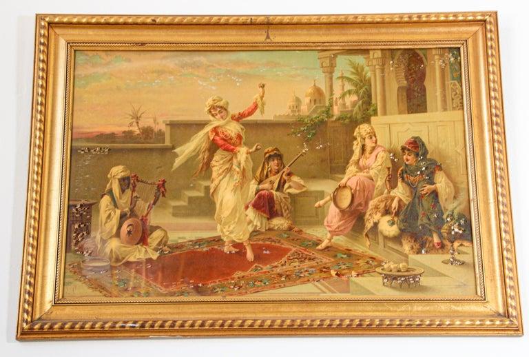 Orientalist Gravure Scene of Turkish Women Dancing in the Harem, Luigi Crosio For Sale 8