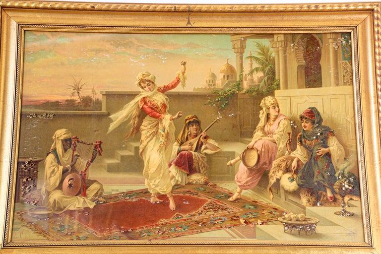 Orientalist Gravure Scene of Turkish Women Dancing in the Harem, Luigi Crosio For Sale 9