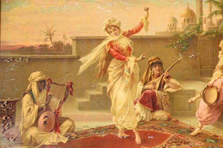Orientalist Gravure Scene of Turkish Women Dancing in the Harem, Luigi Crosio For Sale 10