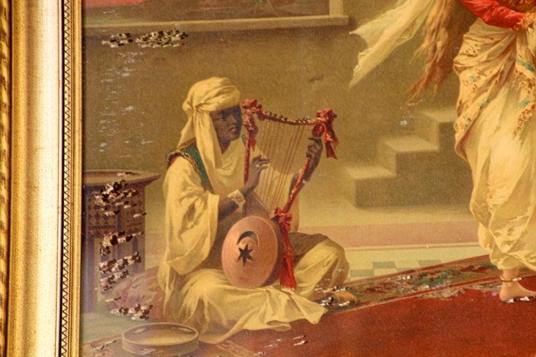 Orientalist Gravure Scene of Turkish Women Dancing in the Harem, Luigi Crosio For Sale 11
