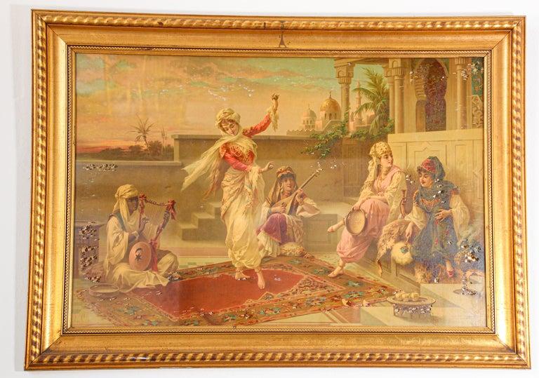 Orientalist Moorish gravure scene of Turkish women dancing in the harem. Luigi Crosio Orientalist gravure after the original of the Scene Mauresque Dance. Large etching signed