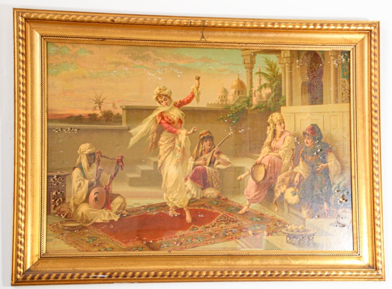 Moorish Orientalist Gravure Scene of Turkish Women Dancing in the Harem, Luigi Crosio For Sale