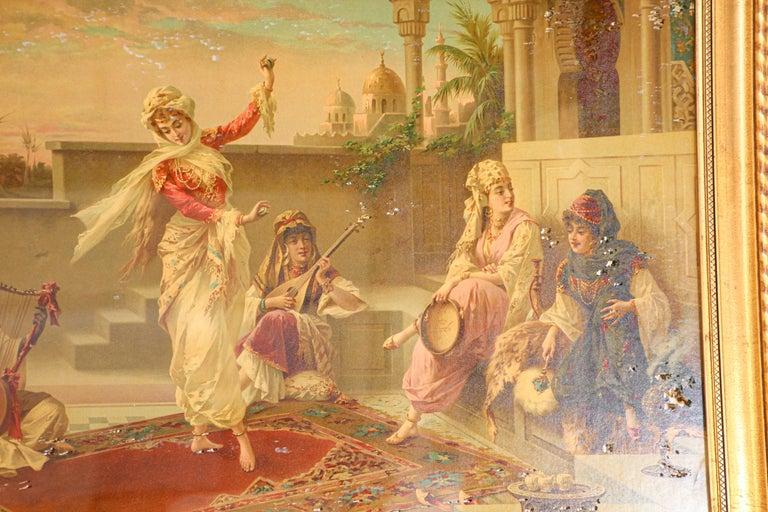 Italian Orientalist Gravure Scene of Turkish Women Dancing in the Harem, Luigi Crosio For Sale
