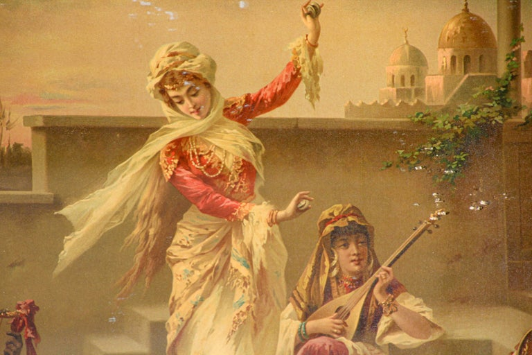 Engraved Orientalist Gravure Scene of Turkish Women Dancing in the Harem, Luigi Crosio For Sale