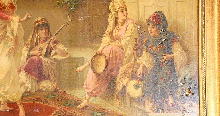Orientalist Gravure Scene of Turkish Women Dancing in the Harem, Luigi Crosio In Distressed Condition For Sale In North Hollywood, CA